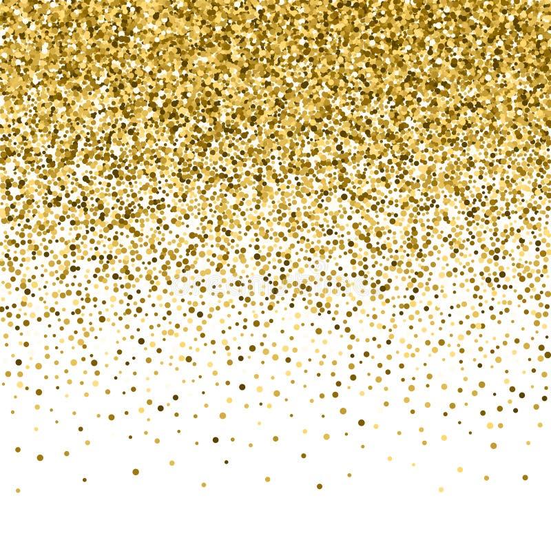 Złocista błyskotliwość połysku tekstura na czarnym tle Złoty wybuch confetti ilustracja wektor
