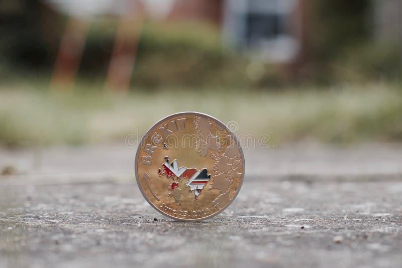Złocista brexit moneta obrazy stock