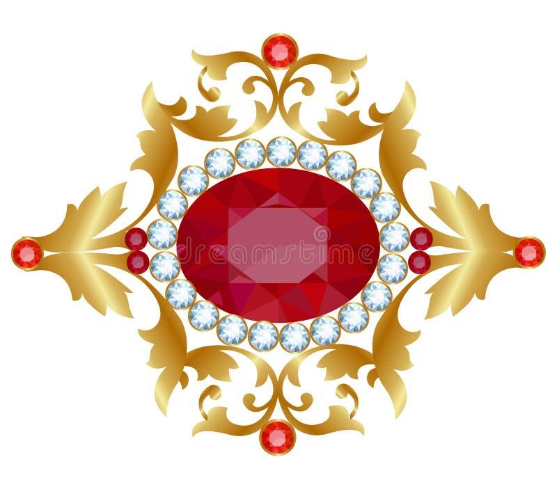 Złocista broszka royalty ilustracja