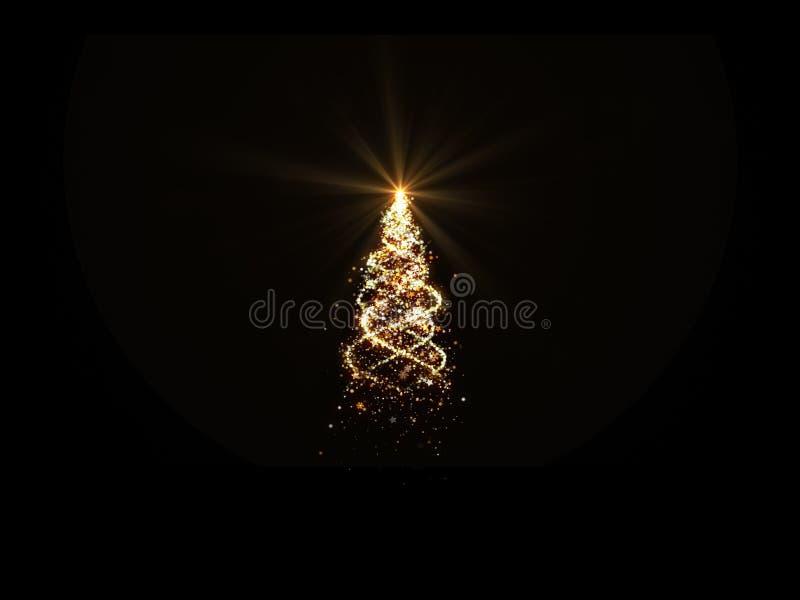Złocista choinka zaświeca z płatek śniegu i gwiazdami na czarnym tle dla narzuty royalty ilustracja