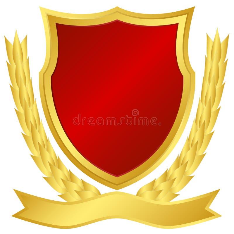 złocista czerwona osłona ilustracja wektor