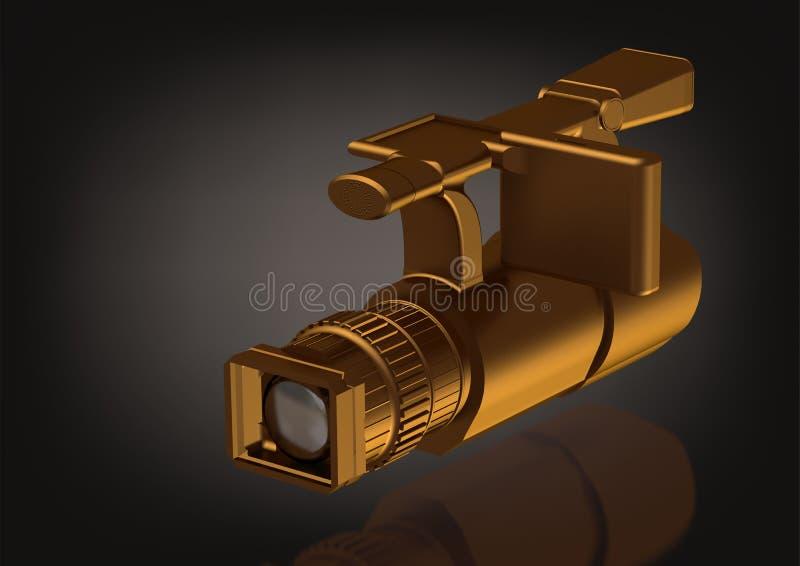Złocista fachowa kamera na czerni ilustracji