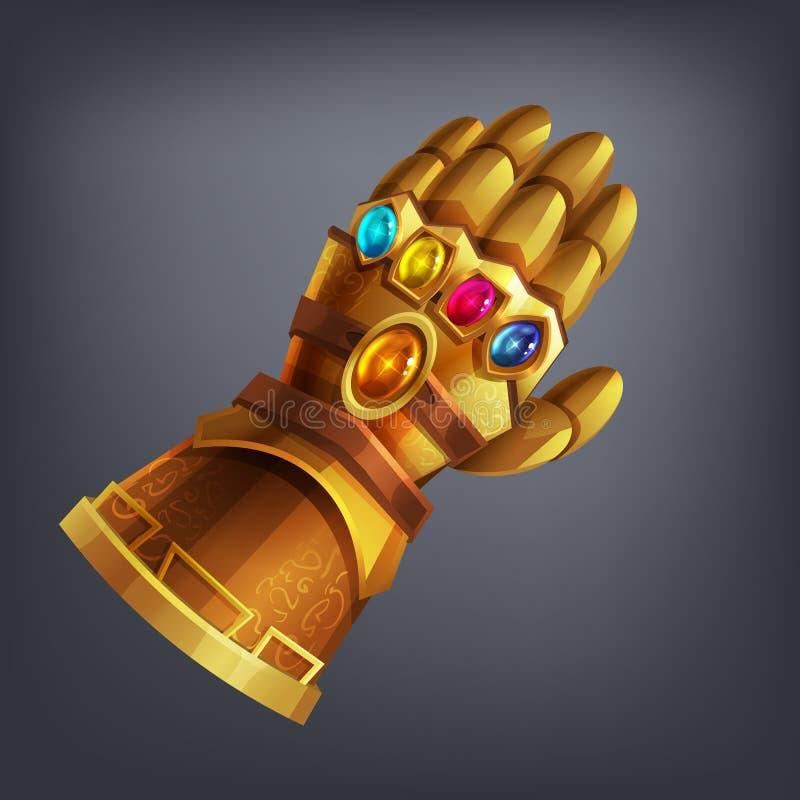 Złocista fantazi opancerzenia ręki rękawiczka z pozaziemskimi klejnotami dla gry lub kart royalty ilustracja