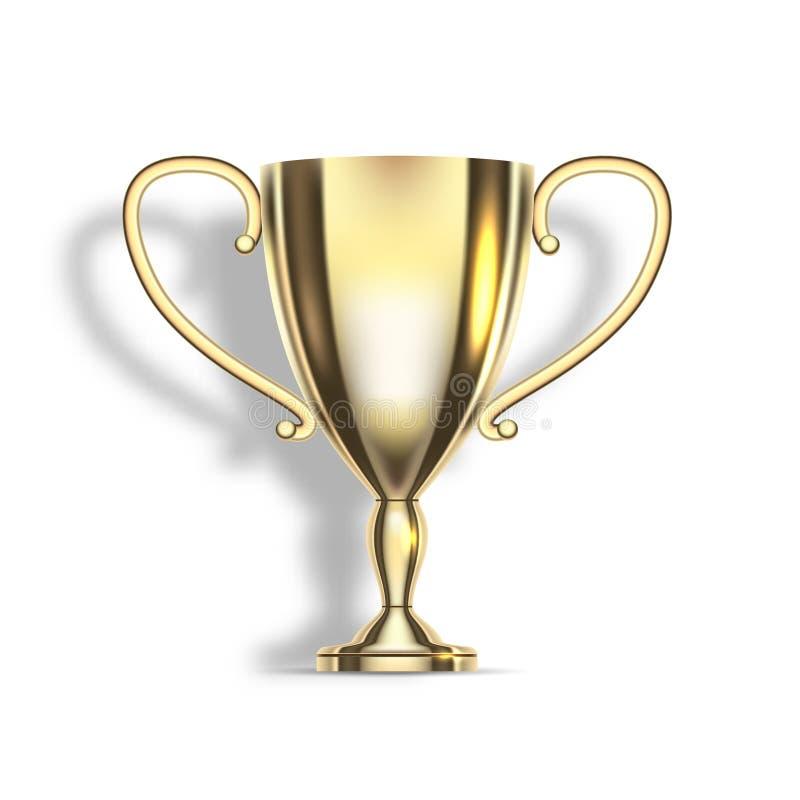 Złocista filiżanka zwycięzca sport rywalizacja, mistrzostwo lider i sukcesu osiągnięcia symbol, ilustracji