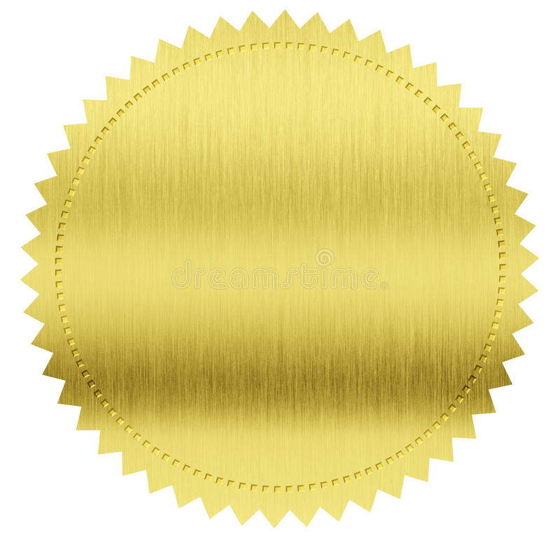 Złocista foka lub medal fotografia stock