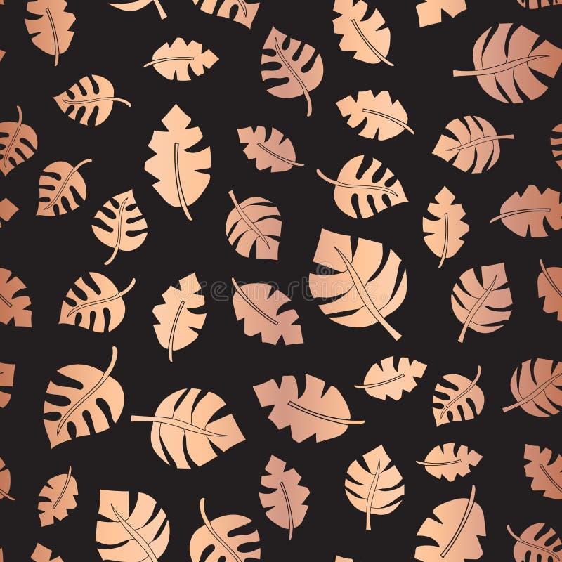 Złocista folia opuszcza Bezszwowego wektorowego tło Błyszczący liść na czerń wzorze Błyszczący kruszcowy elegancki tło dla poślub royalty ilustracja