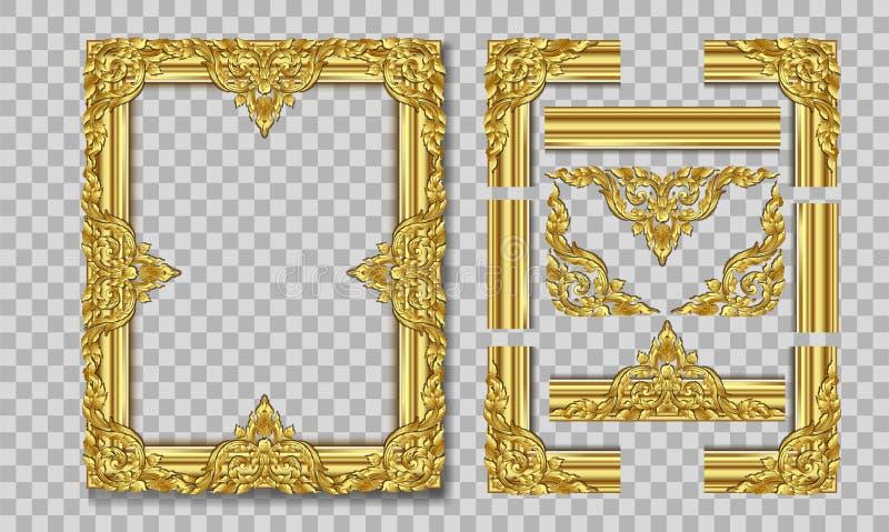 Złocista fotografii rama z narożnikowy Thailand kreskowy kwiecistym dla obrazka, Wektorowy projekt dekoraci wzoru styl ramowy rab ilustracja wektor