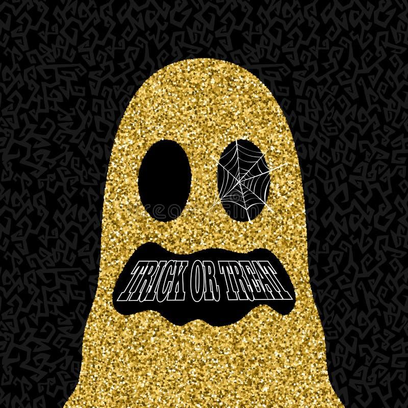 Złocista Halloweenowa trikowa lub funda ducha ilustracja ilustracja wektor