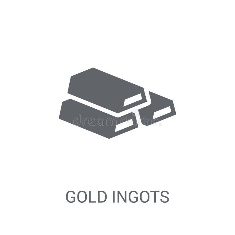 Złocista Ingots ikona Modny Złocisty Ingots logo pojęcie na białym backg ilustracji