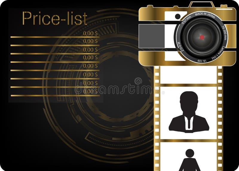 Złocista kamera na czarnym tle ilustracji