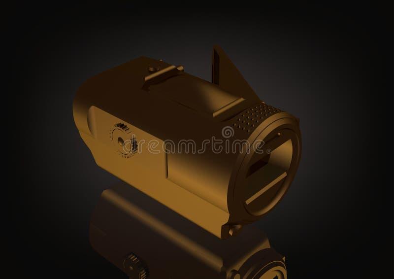 Złocista kamera na czerni ilustracji