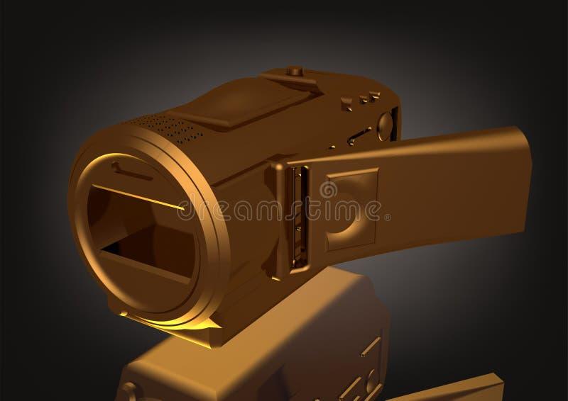 Złocista kamera na czerni royalty ilustracja