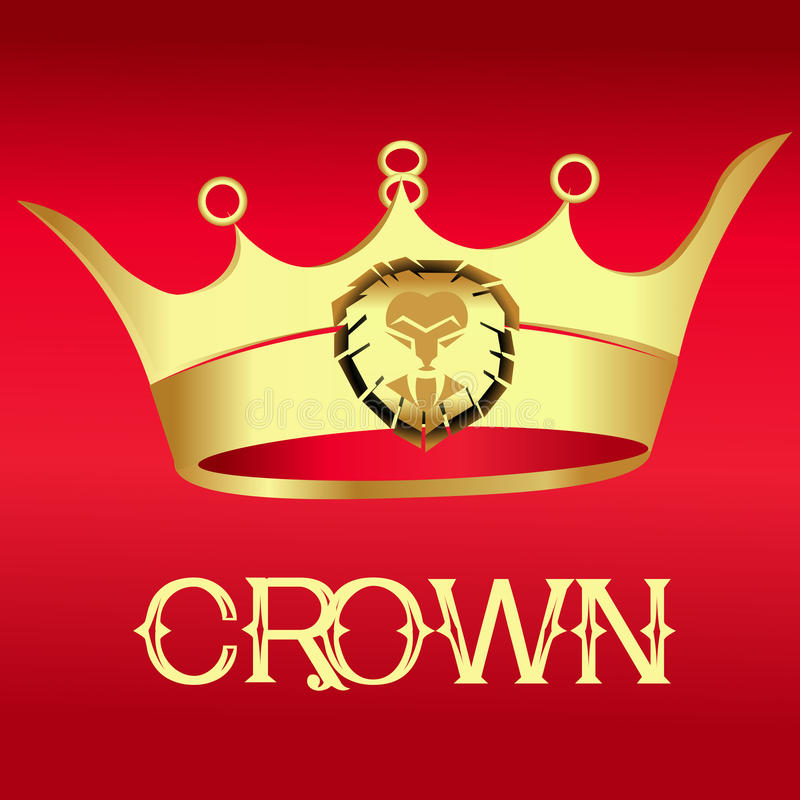 Złocista korona na czerwieni - ilustracja royalty ilustracja