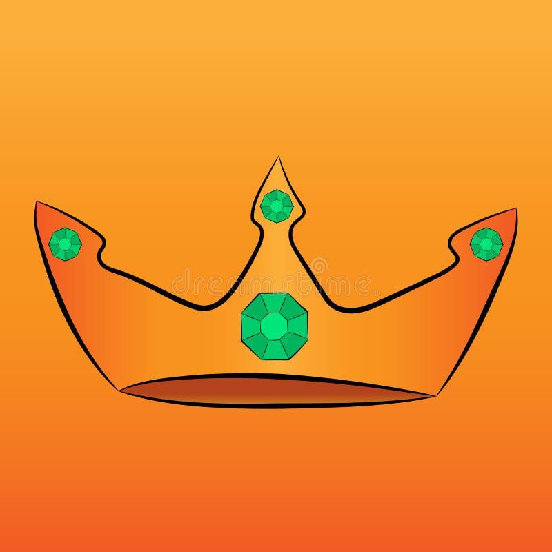 Złocista korona z zielonymi klejnotami ilustracja wektor