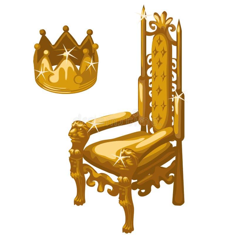 Złocista Królewska korona i tron, dwa wektorowej rzeczy ilustracja wektor