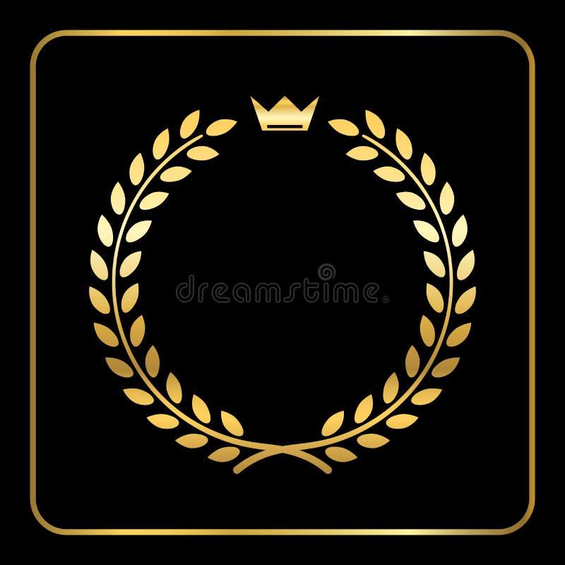 Złocista laurowa pszeniczna wianek ikony korona royalty ilustracja