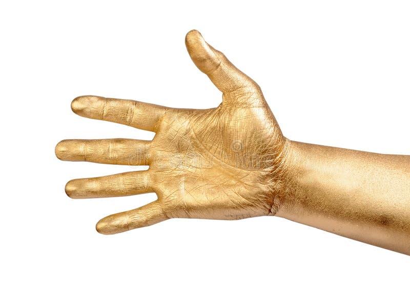 Download Złocista Męska Ręka W Mile Widziany Gescie Nad Bielem Zdjęcie Stock - Obraz złożonej z farba, złoto: 57670524