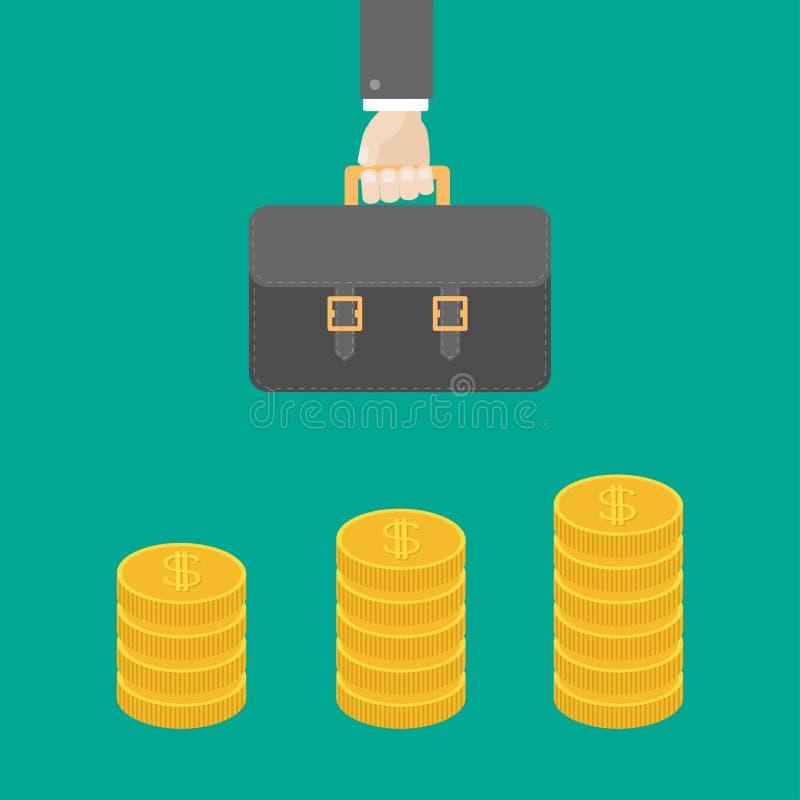 Złocista moneta broguje ikonę w kształcie diagram Dolarowego znaka symbol pieniądze w gotówce, Dochód i zyski Biznesmen ręki mien royalty ilustracja
