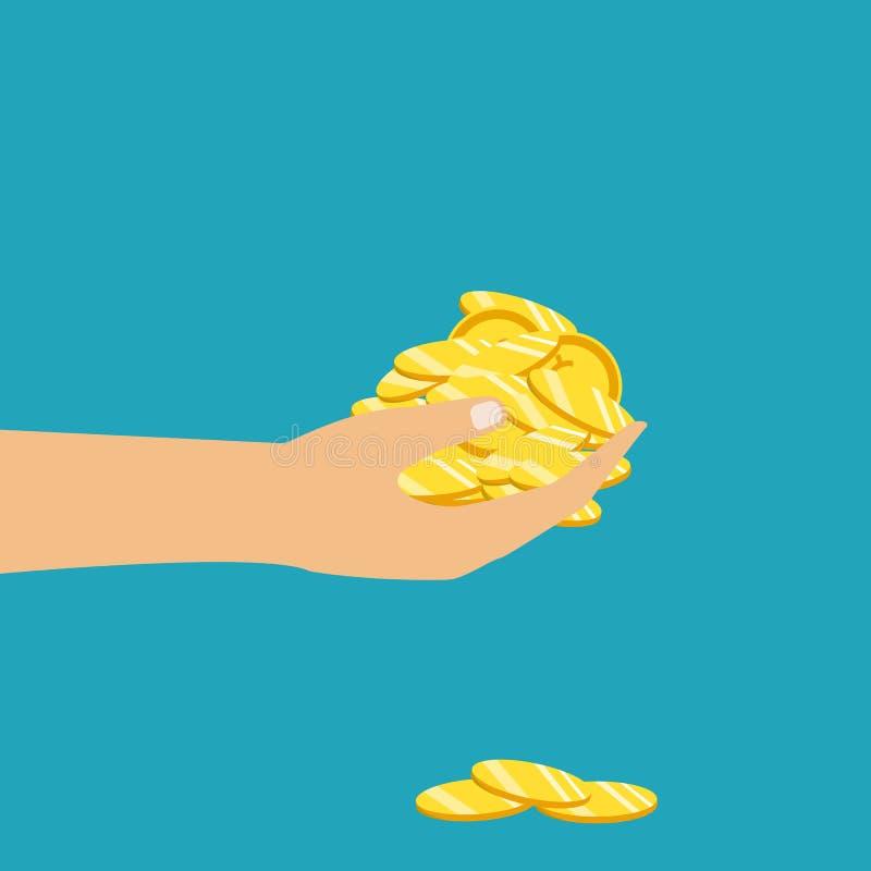 Złocista moneta w ręce biznesmen Odizolowywający na tle wektor royalty ilustracja