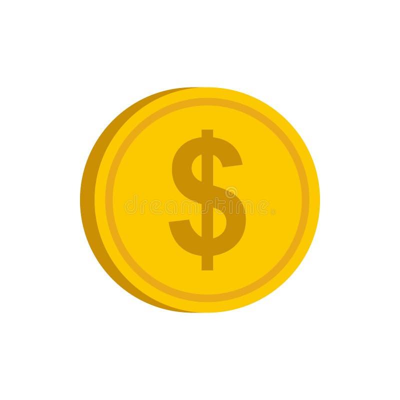 Złocista moneta z dolarowego znaka ikoną, mieszkanie styl royalty ilustracja