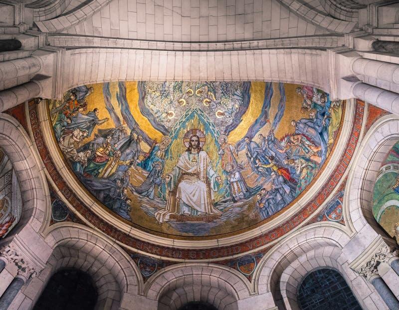 Złocista mozaika na suficie bazylika Sacre Coeur wewnątrz obrazy royalty free
