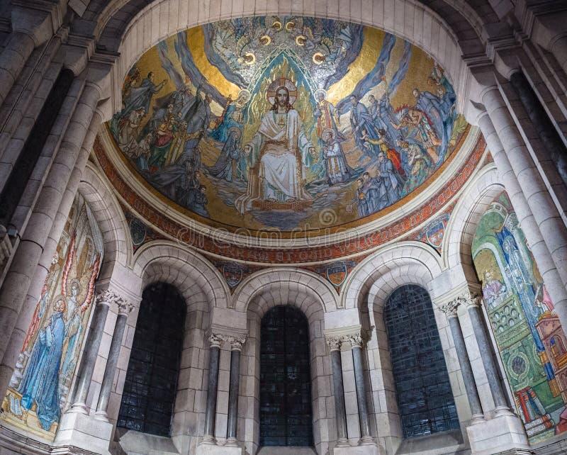 Złocista mozaika na suficie bazylika Sacre Coeur wewnątrz obraz stock