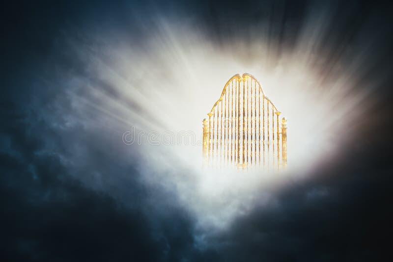 Złocista niebo brama w niebo/3D ilustracji royalty ilustracja