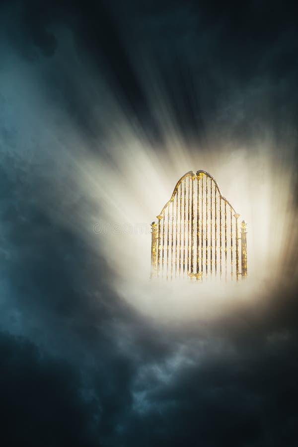 Złocista niebo brama w niebo/3D ilustracji ilustracja wektor