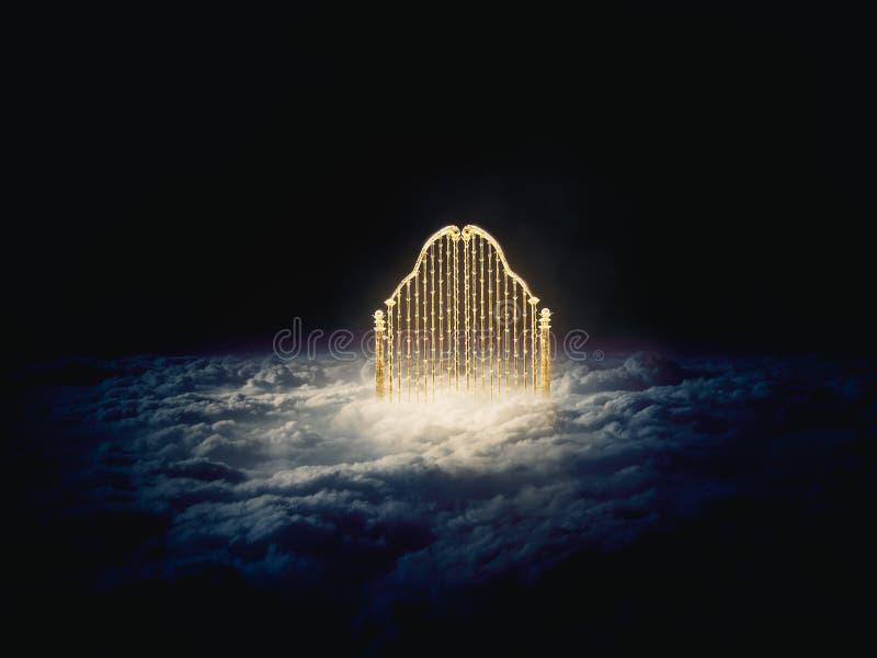 Złocista niebo brama w niebo/3D ilustracji ilustracji