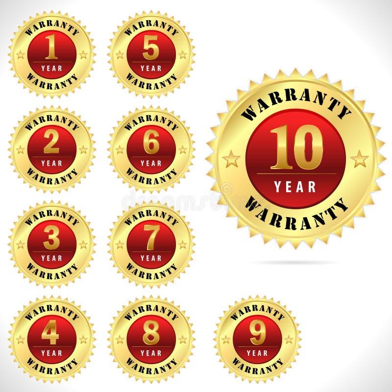 Złocista odgórnej ilości gwaranci odznaka od 1 10 rok wektor eps 10