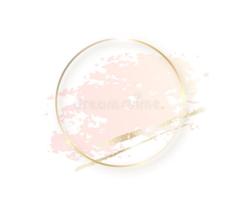 Złocista okrąg rama z pastelową nagich postaci menchii teksturą i cień, złoci muśnięć uderzenia odizolowywający na białym tle geo royalty ilustracja