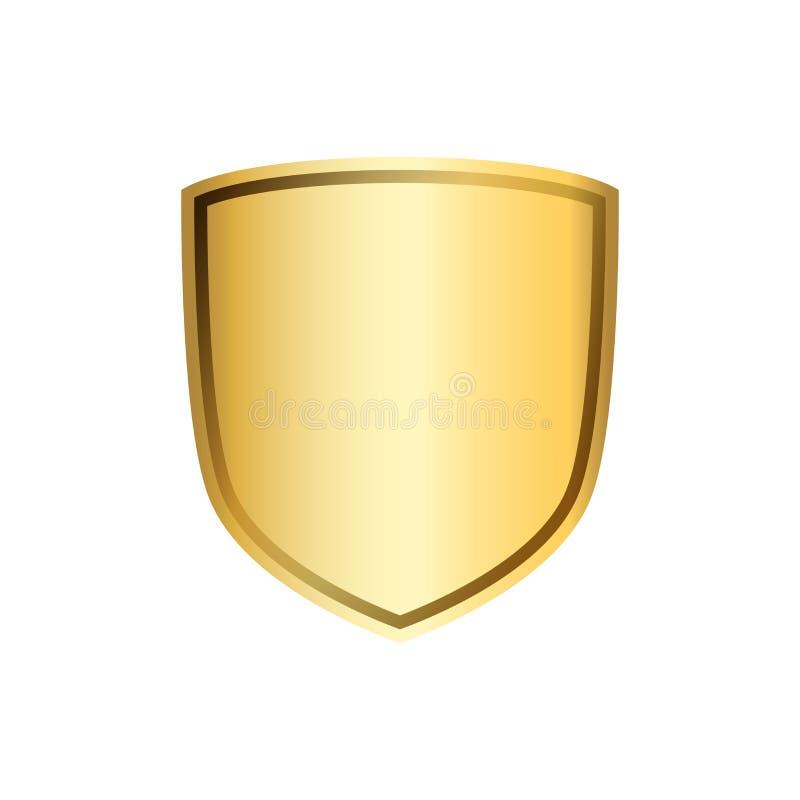 Złocista osłona kształta ikona 3D emblemata złoty znak na białym tle Symbol ochrona, władza, ochrona odznaka ilustracja wektor