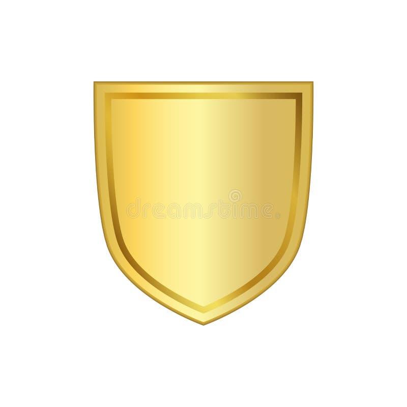 Złocista osłona kształta ikona 3D emblemata złoty znak odizolowywający na białym tle Symbol ochrona, władza, ochrona odznaka royalty ilustracja