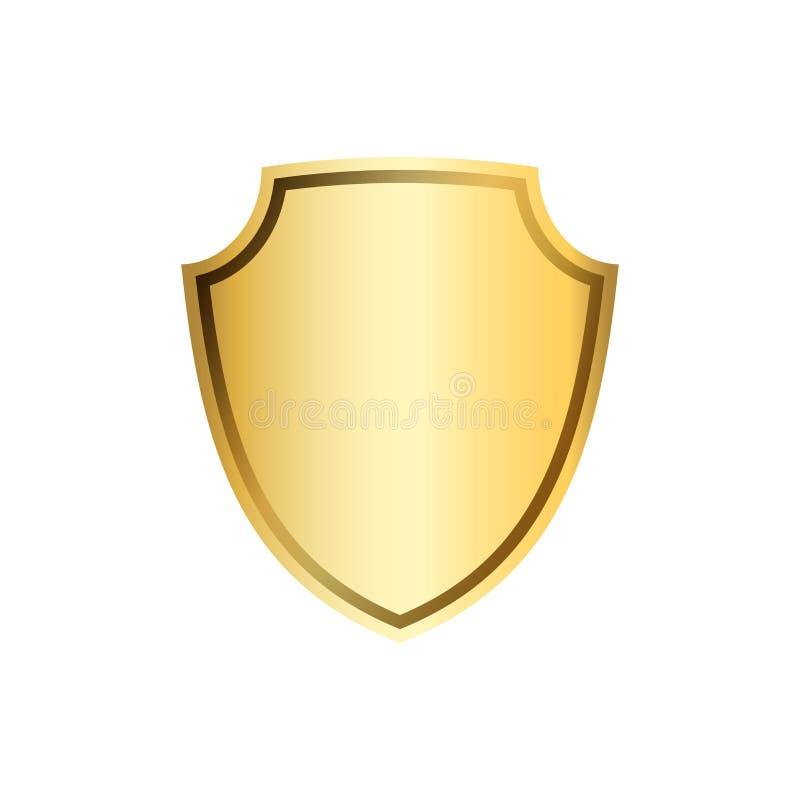Złocista osłona kształta ikona 3D emblemata złoty znak odizolowywający na białym tle Symbol ochrona, władza, ochrona odznaka ilustracji