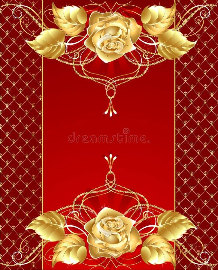 złocista projekt biżuteria wzrastał royalty ilustracja