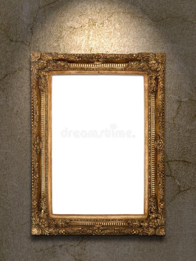 Złocista rocznik fotografii rama na grunge ścianie obraz stock