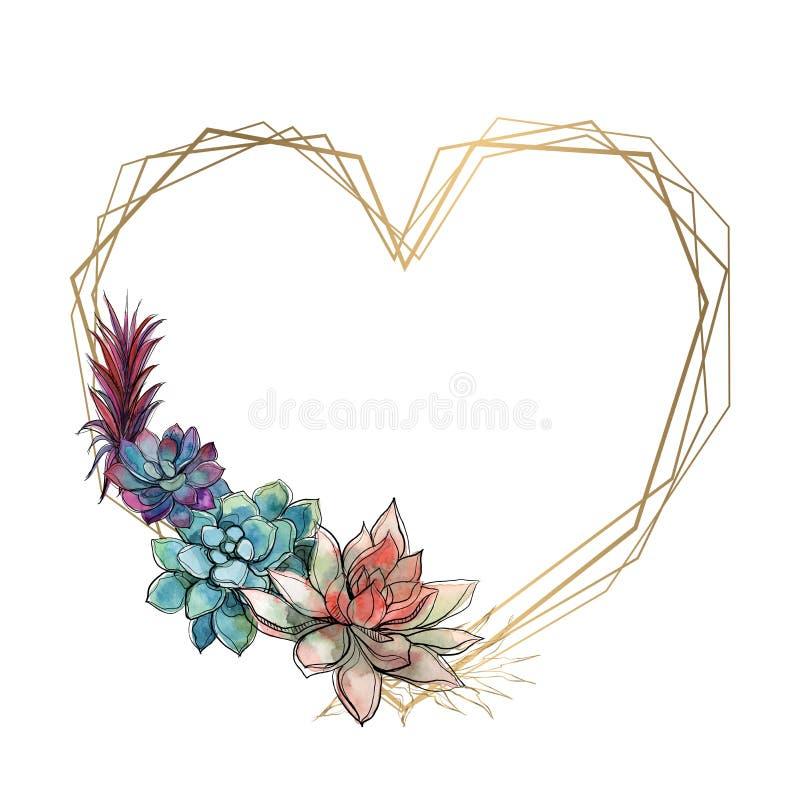 Złocista serce rama z sukulentami valentine akwarela grafit wektor ilustracja wektor