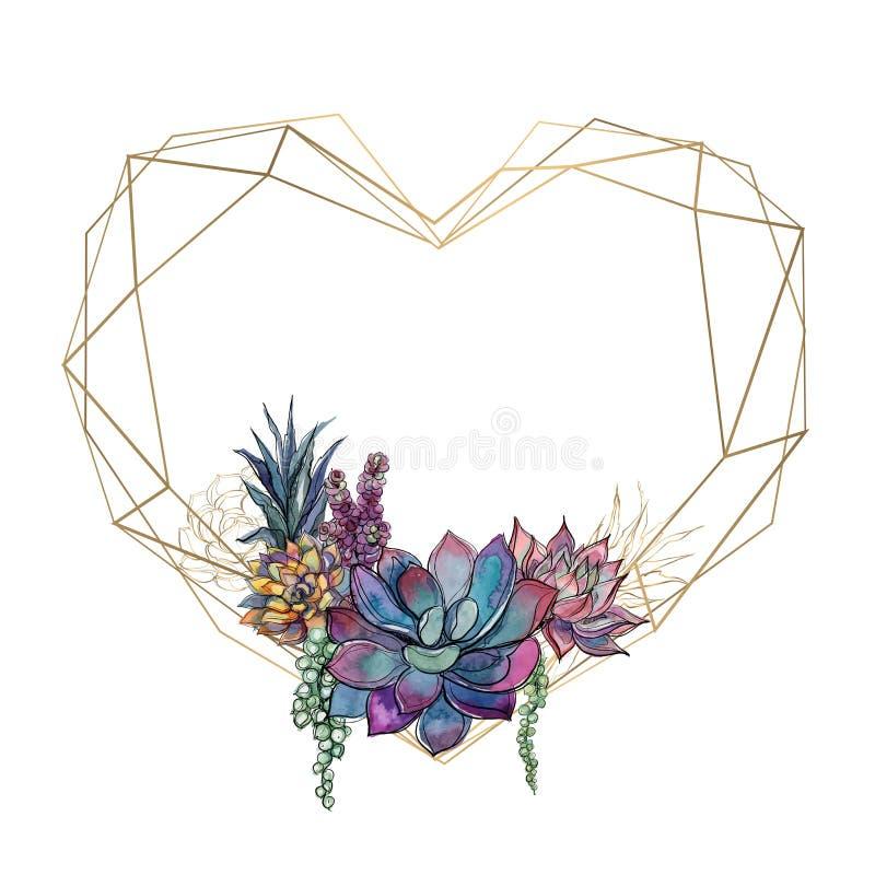 Złocista serce rama z sukulentami valentine akwarela grafit wektor ilustracji