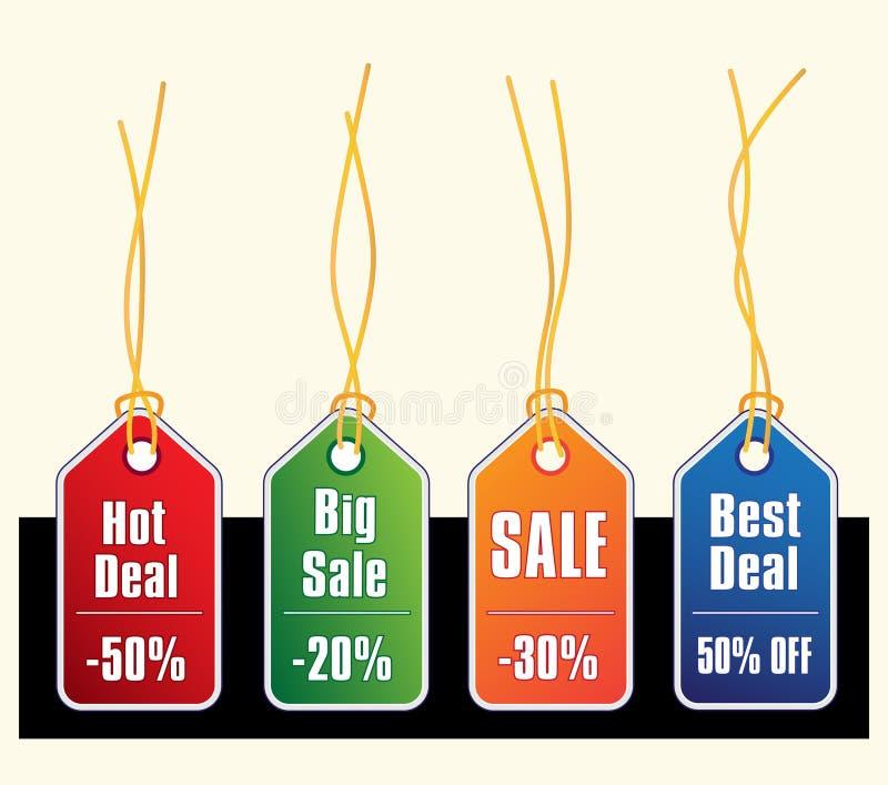 złocista sprzedaż zawiązuje etykietki ilustracja wektor