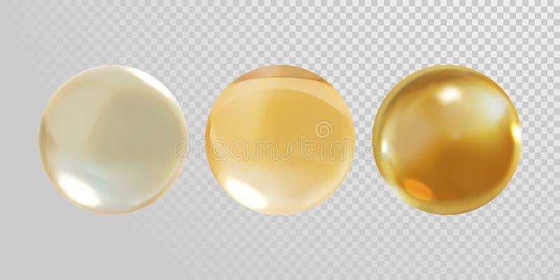 Złocista szklana piłka odizolowywająca na przejrzystym tle 3D złotego oleju witaminy E pigułki realistycznej wektorowej kapsuły s ilustracja wektor