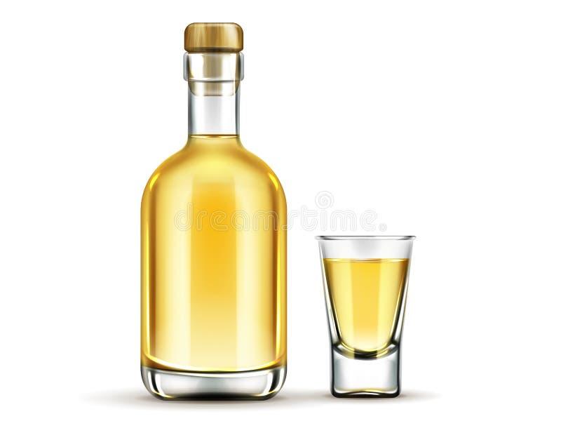 Złocista tequila butelka i strzału szkło wyśmiewamy w górę napoju royalty ilustracja