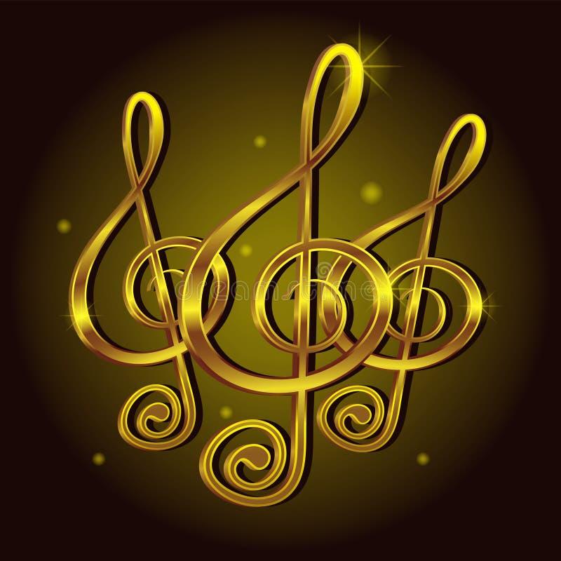 Złocista treble clef muzyki znaka notatka Dekoracyjny ikona elementu wektoru wizerunek ilustracja wektor