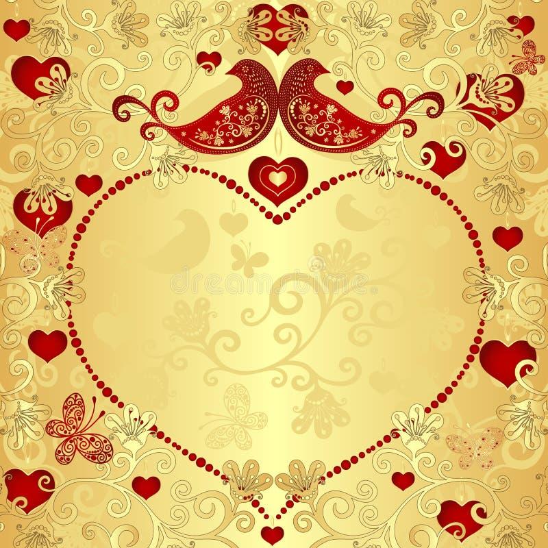 Złocista valentine rama ilustracji