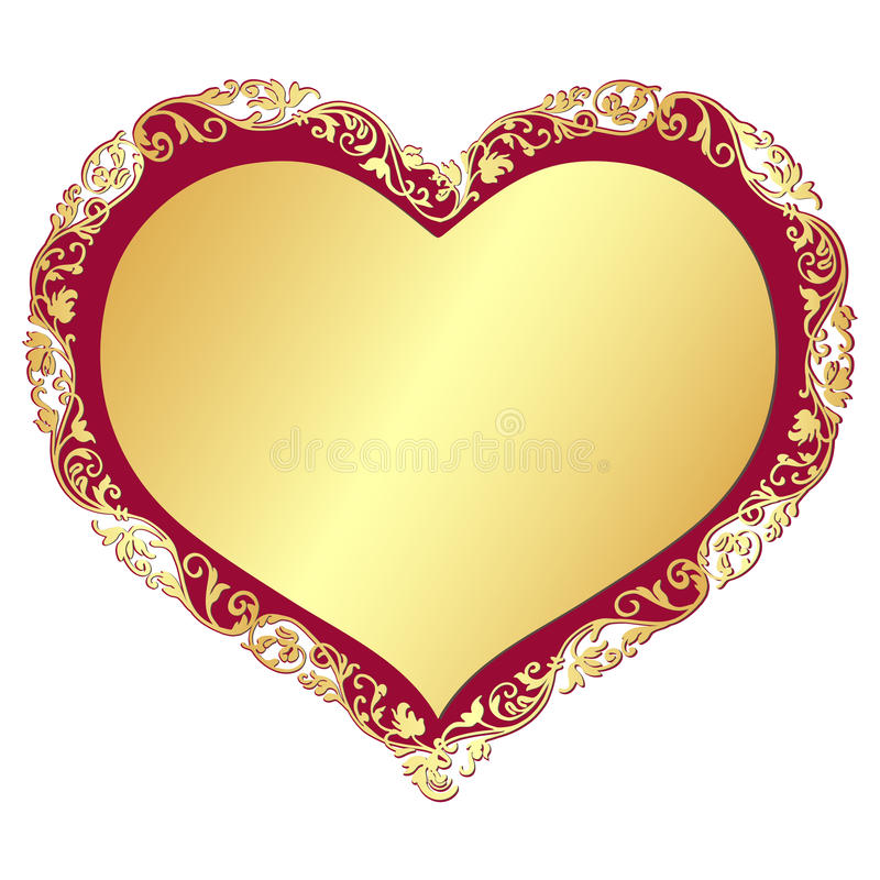Złocista valentine rama royalty ilustracja