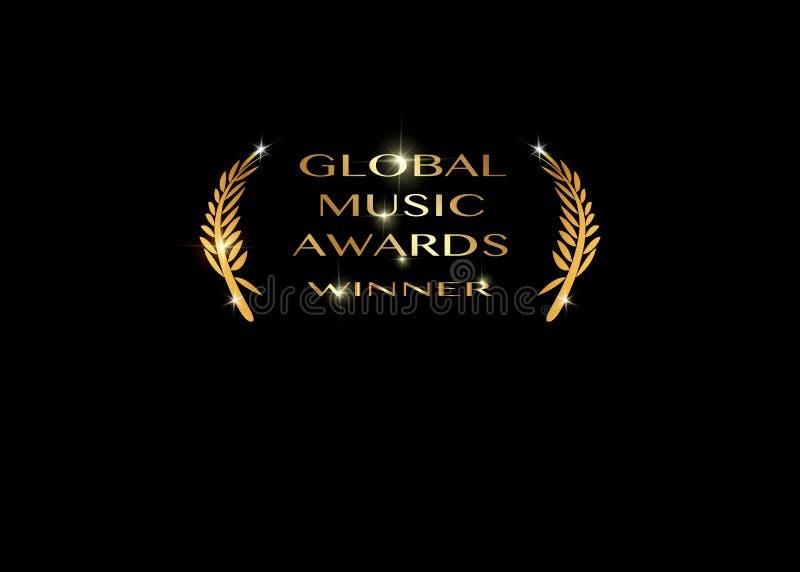 Złocista wektorowa globalna muzyka nagradza zwycięzcy pojęcia szablon z złotym błyszczącym tekstem odizolowywającym lub czarnym royalty ilustracja