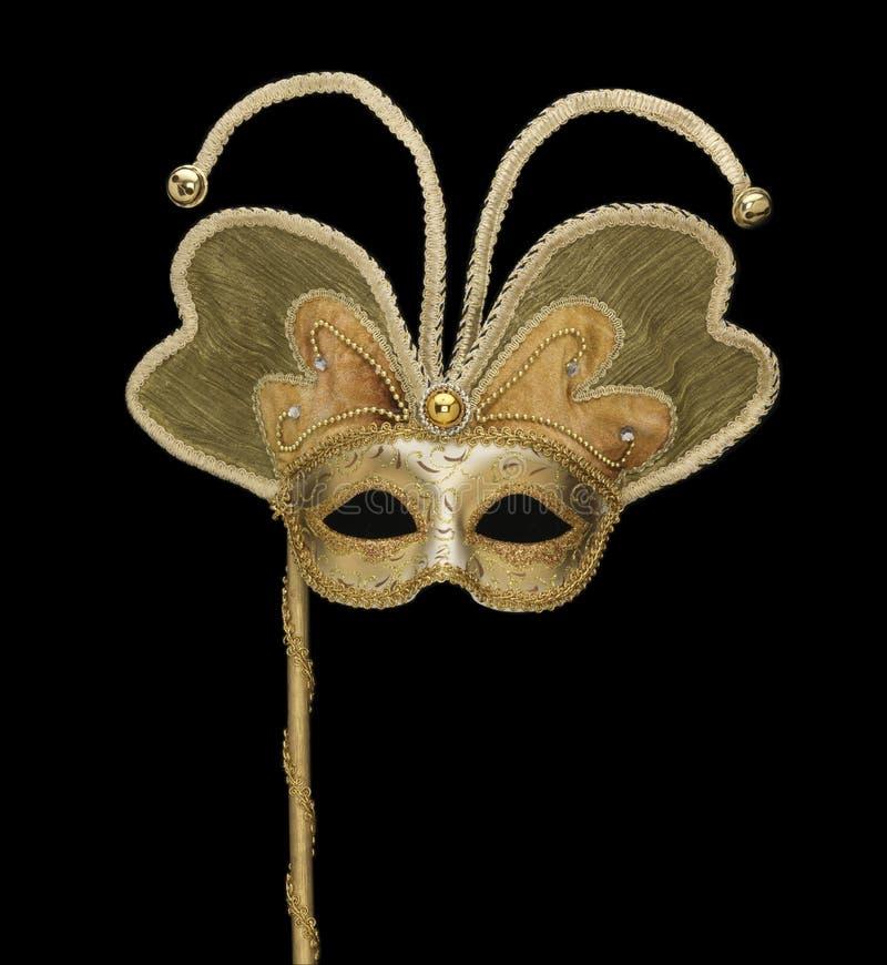 Złocista Wenecka maska z dzwonami zdjęcia royalty free