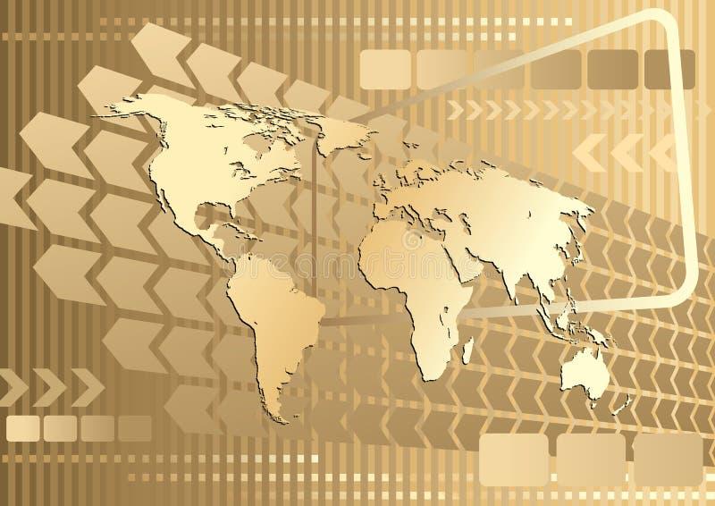 złocista wielka mapa ilustracja wektor