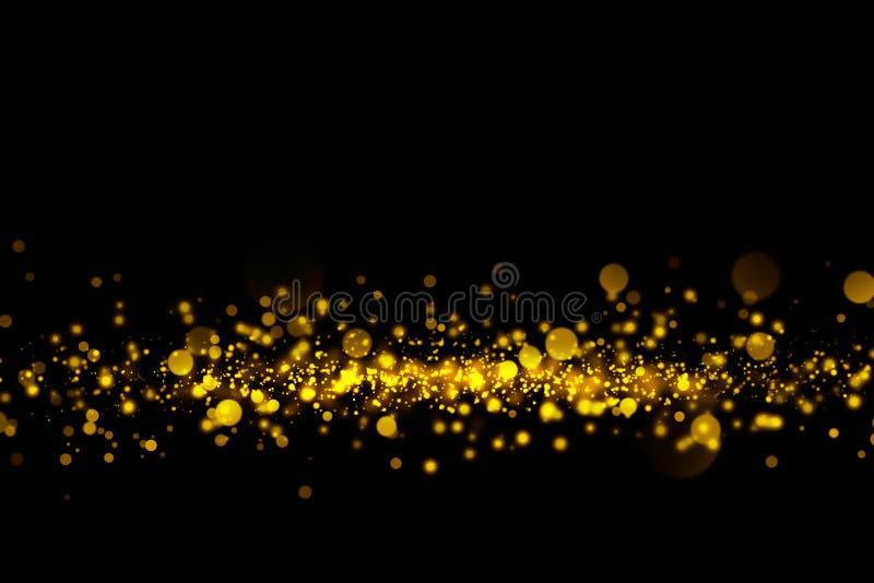 Złociste błyskotliwość cząsteczki zaświecają i bokeh na czarnym tle Bożenarodzeniowa abstrakcjonistyczna błyskotanie tekstura royalty ilustracja