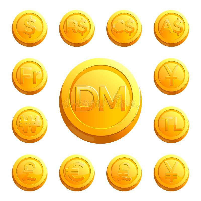 Złociste błyszczące monety z pieniędzy znakami różnorodni kraje royalty ilustracja