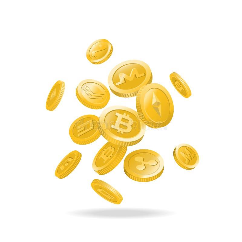 Złociste cyfrowe cryptocurrency monety ilustracji